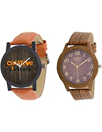 TRO-Wood-CRT Combo Of Two Analogue Watch For Men's And Boys