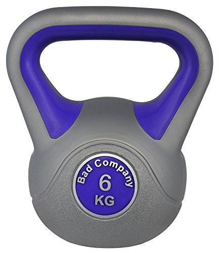Bad Company Kettlebell als Set oder einzeln I Kunststoff Kugelhantel und Ablage-Rack I Schwunghantel Workout - Color Line I 6 kg