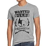 style3 Wanted Schroedinger's Katze Herren T-Shirt sheldon, Größe:XXXL;Farbe:Grau meliert