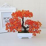 LOF-fei Künstliche Pflanzen Home Decor Esstisch Zubehör Topfpflanzen aus Kunststoff,orange square Keramik Blumentöpfe