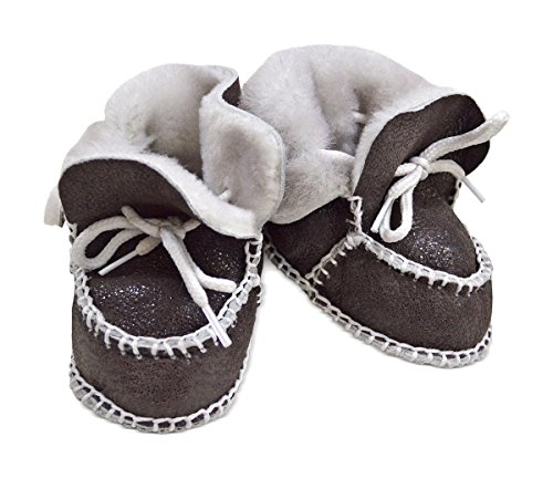 Wildash London , Chaussures souple pour bébé (garçon) marron glitter brown suede & white shearling Size 3-12 months glitter brown suede & white shearling