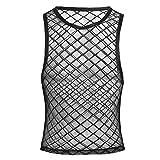 Tiaobug Herren Top Tanktop T-Shirt Ärmellos Netz Hemd Unterhemd Erotik Unteräwsche Transparent Nachtwäsche Schwarz M