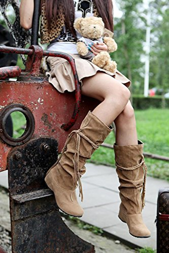 Minetom Winter Hohe Rüschedekoration Quaste Höhe Khaki Stiefel Mit Erhöhen Und Frauen Mattoberflächen Herbst Schuhe EIqrI