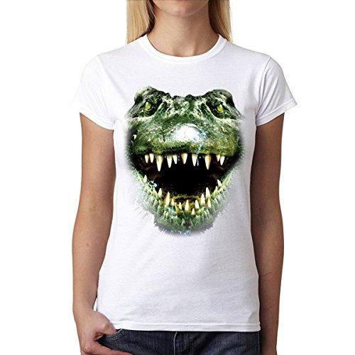 Alligator Maul Tiere Damen T-shirt S-2XL Neu Weiß