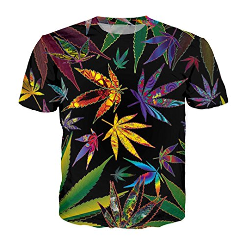 buy online 15cee c3e6e Unisex 3D Weed Leaf T Shirt Green Leaf Funny T-Shirt Summer Hip Hop Casual  Top Tees Shirts Street Clothing xd20180530c XXL