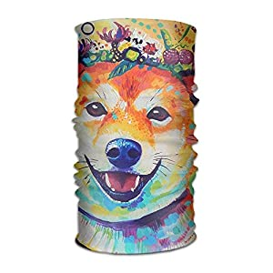 guanggs Happy Shiba 16-in-1 Magic Scarf,Face Mask,Fishing Mask,Thin Ski Mask,Neck Warmer Balaclava Bandana for Raves,Dust,Riding Bike,Motorcycle,Outdoor Activities