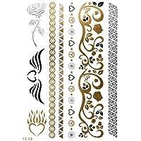 ORO Tattoo Flash Tatuaggi Temporanei Ornamenti Rosa Cuore Bracciali YS-68 - LC Trend stile