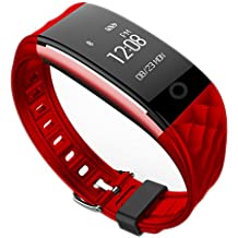 Jcotton Bluetooth Smart Watch IP67 impermeable Smart pulsera monitor de ritmo cardíaco deportivo pulsera Fitness Tracker Multi-Sport modo salud monitor pedómetro mensaje de llamada recordatorio para IOS teléfono Android (rojo)