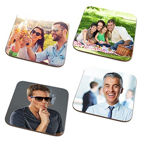 Untersetzer mit Foto Aufdruck - Glasuntersetzer mit eigenen Motiv personalisieren - Glasuntersetzer mit Fotodruck aus MDF - Foto-Untersetzer für Tassen zum personalisieren- 4er Set
