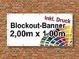 Premium Banner 900g/m² | Werbebanner / Werbeplane | 2m x 1m | blickdicht | inklusive Ösen | brillanter Druck - besonders stabil - wetterfest | einseitig mit Ihrem Motiv bedruckt