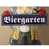 Bier Garten XXL Emaille Schild Biergarten XXL 15 x 60 cm Emailschild blau.