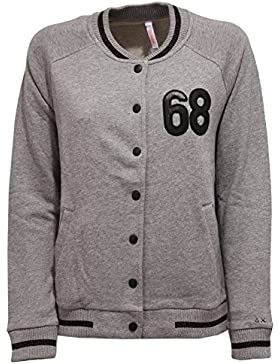 SUN 68 5951W Felpa Bomber Donna Grey Cotton Sweatshirt Woman