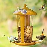 MD jardín inoxidable multiusos para colgar Bird Feeder amarillo con tubo transparente y malla de dos capas diseño