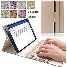 KVAGO - Funda para tableta Samsung Galaxy Tab S2SM-T815T810 de 25 cm (9,7pulgadas) con teclado retroiluminado desmontable de 7colores, fina, elegante, de lujo, de piel sintética, plegable en tres, para uso inalámbrico por Bluetooth dorado dorado