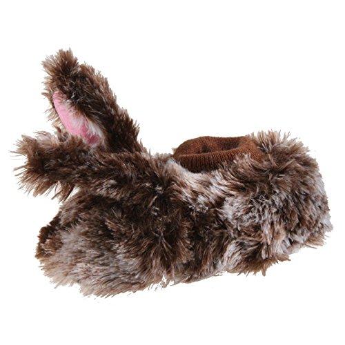 Tierhausschuhe Kinder Plüsch Tier Hausschuhe Hase Kaninchen Hasi Pantoffel Puschen Schlappen Slipper flauschig, TH-BULOWB Braun