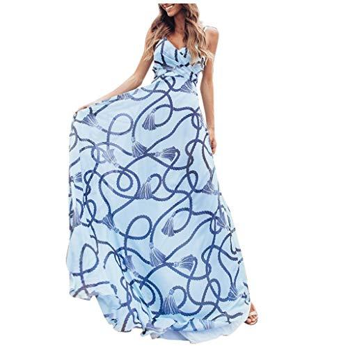 MAYOGO Sommerkleider Damen Damen Kleider Sommer Lange Blau Spaghetti Kleid Sexy Rückenfrei Leibchen Kleid Elegant Blumenkleid Strandkleid für Damen -