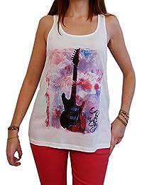 Guitar T-Shirt Tunique Femme imprimée multicolore,Blanc, t shirt femme,cadeau