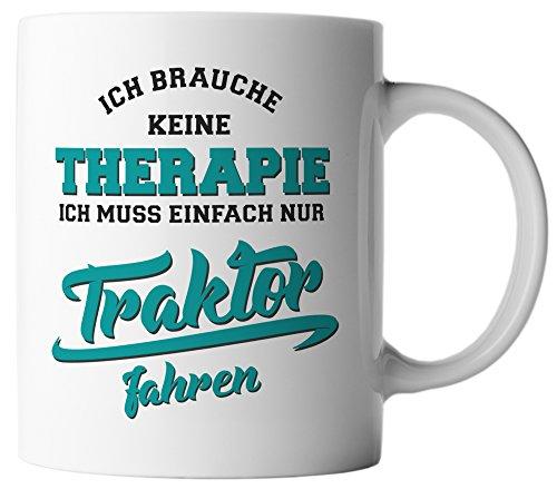 vanVerden Tasse Ich brauche keine Therapie Ich muss einfach nur Traktor fahren, Farbe:Weiß/Türkis