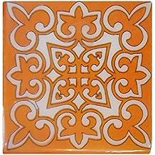 Shivkripa Blue Art Pottery Ceramic Handmade Tiles (Orange, Pack of 6, SKT93)