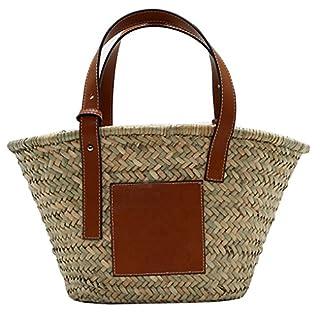 ACMEDE Damen Strandtasche Stroh Handtasche Einkaufstasche mit Leder Griffen Naturfarben (L)