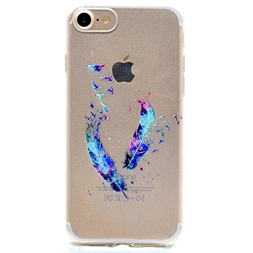 Etsue Doux Protecteur Coque pour iPhone 6 Plus/6S Plus,Silicone TPU Matériau Frame est Transparent Soft Cover pour iPhone 6 Plus/6S Plus,Coloré Motif par Dessin de Mode Case Coque pour iPhone 6 Plus/6 Plume Bleu