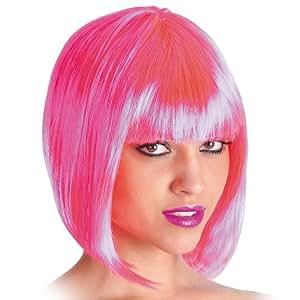 Parrucca Pin Up rosa caschetto fucsia con frangetta