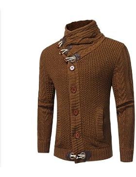 HY-Sweater El Otoño y el Invierno Color Uni Cuello Alto Men 's Fashion el Botón del Claxon de Lana Grueso Chandail...