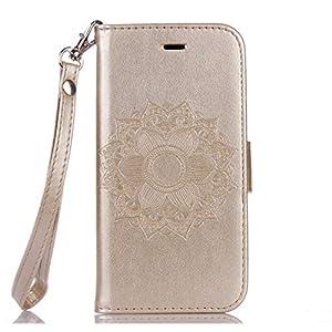 Bear Village® Hülle für Galaxy S7, Premium Brieftasche Leder Schutzhüllem Multifunktion Klappständer Schützthülle mit kartenfächern für Samsung Galaxy S7 (#1 Gold)