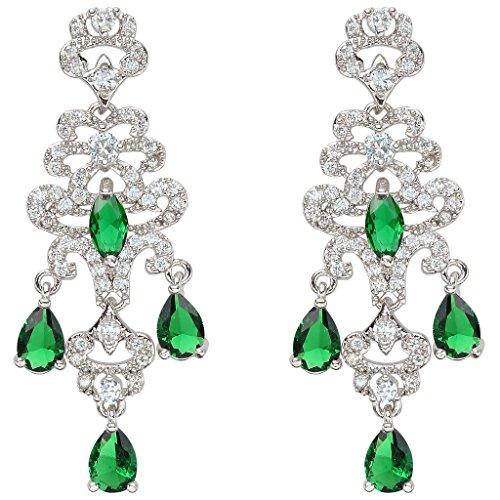 EVER FAITH® CZ splendida annata Ispirato allo strappo delle donne goccia lampadario orecchini verde silver-tone