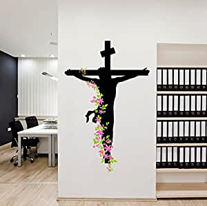 Decals Design 'Jesus Christ Floral Religion Christian Cross Divine Trinity Prayer' Wall Sticker (PVC Vinyl, 50 cm x 70 cm), Multicolour