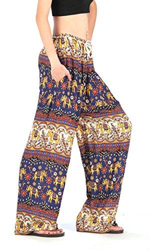 CandyHusky de rayón un tamaño de la mujer y elefante de flores, ejercicio Boho Hippie yoga harén pantalones pantalones negro azul oscuro Talla única