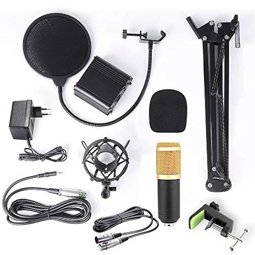KOUPA Professionelles Kondensatormikrofon-Set mit 6 Grundzubehörteilen und Einer Mixer-Soundkarte , Luxury Kit, schwarz