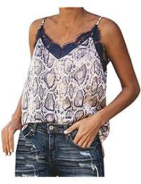 Slyar Camisetas Tirantes Mujer Encaje Cuello En V De La Serpiente De Encaje De Costura De