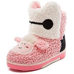 Minetom Unisex Bambino Ragazze Ragazzi Stivali Da Neve Suola Morbida Scarpe Cartone Animato Bambini Boots Rosa EU 28