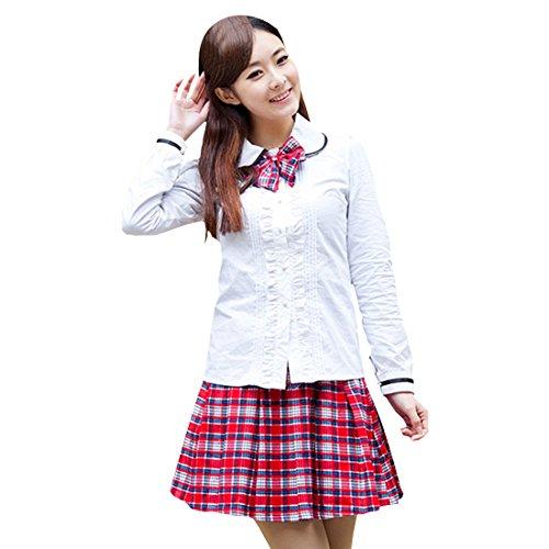 Partiss Maedchen Sweet Japan Schuluniform Fancy Dress Kleid Cosplay Anime Langarm Anzug Mantel Bluse mit Faltenrock(Tag S/EU ()