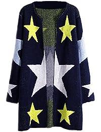 Tayaho Abrigos Manga Larga Mujer Coat Largo Cardigan Chaquetas Impresa Estrellas Abrigos Stitch De Punto Outwear