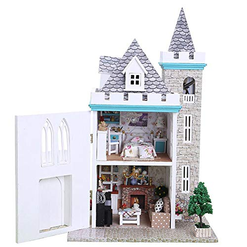 TAEONY Holz Dollhouse Miniature DIY Kit w/Light-Love Fort Series Dollhouses House Big Lovely Villa + Led Light + Furniture