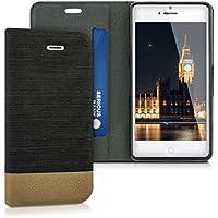kwmobile Flip cover custodia per Apple iPhone SE / 5 / 5S - Custodia protettiva cover a forma di libro in ecopelle e tessuto antracite marrone