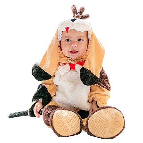 n Jungen Jumpsuit mit Kapuze Säugling Tier Rompers Halloween Cosplay Zipper Strampler Outfits Stil6 90 (Säugling/kleinkind Tier Halloween Kostüme)