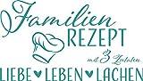 GRAZDesign 300217_57_WT054 Wandtattoo Familien-Rezept mit Kochmütze - Familientattoo als Wand-Deko für Wohnzimmer/Schlafzimmer / Küche (100x57cm // 054 türkis)