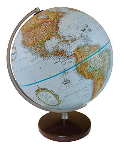Polierte Holz-finish (Replogle Stanley Globemaster Blue Ocean hochgestelltes Relief Globe, Walnuss-Finish Holz Boden und Sleek poliert Semi (30,5cm/30cm Durchmesser))