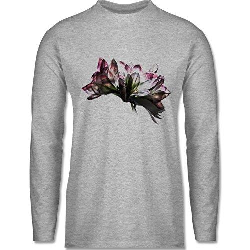 Shirtracer Blumen & Pflanzen - Orchidee Timelapse - Herren Langarmshirt Grau Meliert