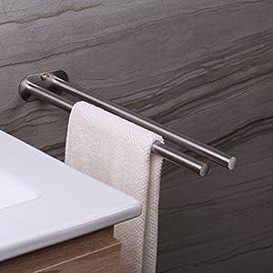 Ruicer Zweiarmig Edelstahl Gebürstet Handtuchstange Doppelt 40 cm Bad Handtuchhalter Wandmontage