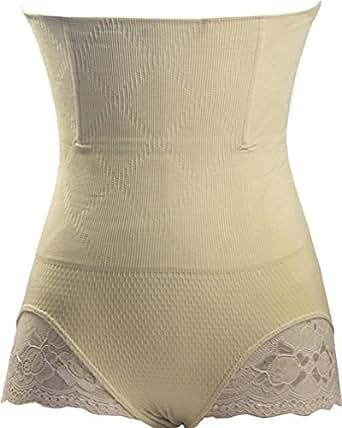 Bettydom Taille Haute Remonte-Fesse Culotte Femme Invisible Shapewear Serre-Taille(Medium/Large, Ecru)