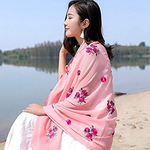 Z&J Zhangyong Damen Baumwollschal Farbe Blumenstickerei Baumwollschal Schals Lange Dual-Use Sonnencreme, Pink, Größe: 185 * 90Cm Geburtstagsgeschenk,A,Einheitsgröße