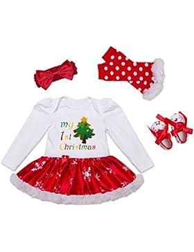 DecStore Baby Girls Mein erster Weihnachtskostüm Party Kleid Tutu Kleidung 4PCS Set