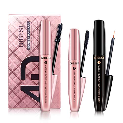 3in 1set mascara 4D fibra mascara Lengthening & nero volumizzante mascara Plus siero crescita delle ciglia