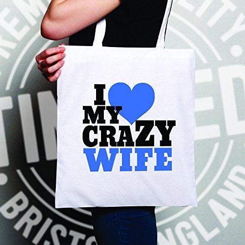 Divertente Paio Di Tote Bag Amo La Mia Pazza Sposa Sposa Valentines Cuore Famiglia Naturale