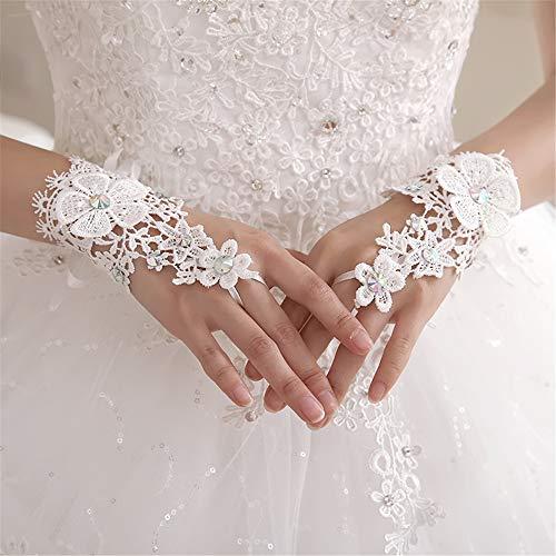 Zxllyntop-bg Braut Hochzeit Handschuhe Bridal Lace White Wedding Wedding Dress Frühling und Sommer Kurze Foto Handschuhe Hochzeitsfeier Kostüm Prom -