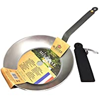 DeBuyer Mineral B Element Iron Frypan 10.2 Inch, Round with Neoprene Handle by De Buyer